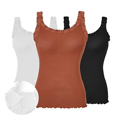 (Ritera Womens Tank Tops Adjustable Spaghetti Strap Padded Lace Trim Cami Tunic(3pcs Black&White&Toffee,M)