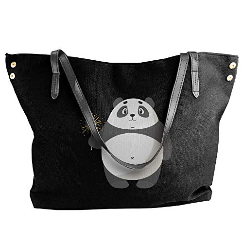 Eden Edies Women's Canvas Large Tote Shoulder Handbag Panda with Sparkler Large Capacity -