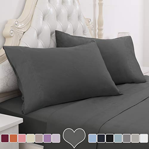 HOMEIDEAS 4 Piece Bed Sheet Set (Full, Deep Gray) 100% Brushed Microfiber 1800 Bedding Sheets - Deep Pockets, Hypoallergenic, Wrinkle & Fade Resistant