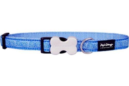 Red Dingo Designer Dog Collar, Medium, Hypno Mid-Blue