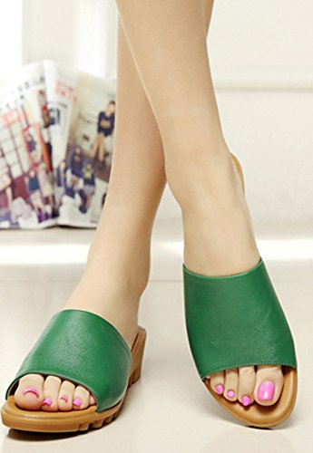 Chaussures Bout Plates Plage Mules Femme Fille Vert Ouvert Aisun Mode xEBwI6Hq