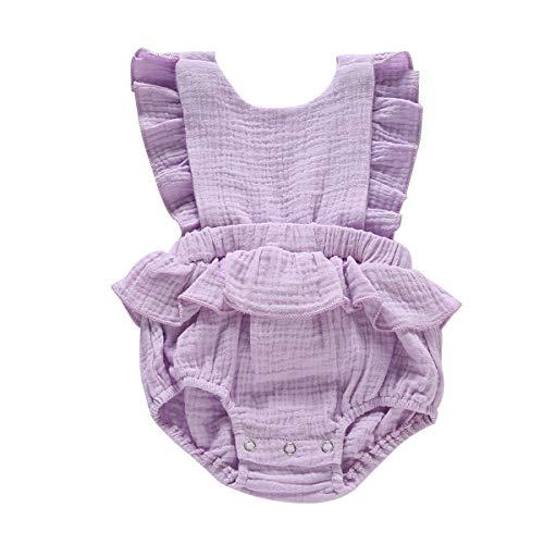Duduai Baby Girl Summer Romper Infant Romper Girl Cotton Ruffle Sleeves Toddler Romper Jumpsuit Newborn Rompers Baby Girl Onesies Bodysuit Purple