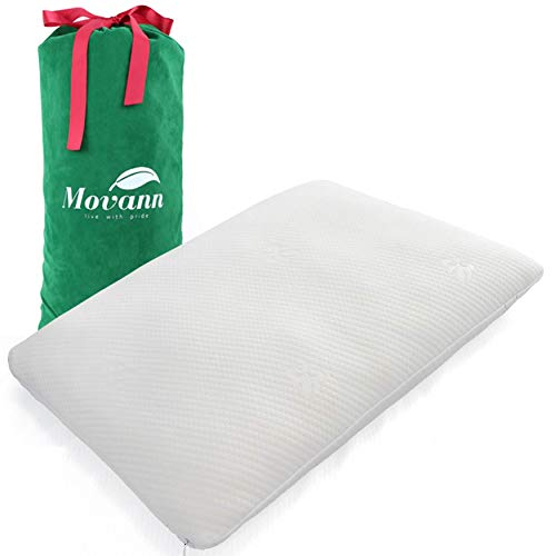 Movann Luxury Shredded Memory Foam Pillow (Standard/Queen/King) Bed Pillow for Back and Side Sleeper - Premium Foam (CertiPUR-US and OEKO-TEX100), Antibacterial Washable Cover, Gift-Ready Packaging