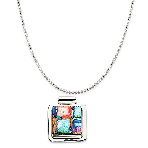 Sterling Silver Multicolor Dichroic Glass Square Pendant on a Sterling Silver Ball Chain Necklace, 20