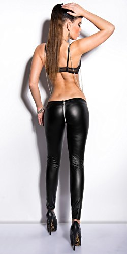 Sexy KouCla Leggings mit Zipper im Wetlook S/M
