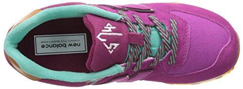 NEW BALANCE - Zapatilla deportiva de cordones fucsia, de ante y tejido, logo lateral y posterior, mujer, mujeres, Niña, Niñas Morado