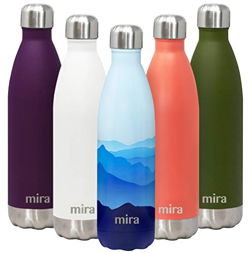 (MIRA 25 Oz Stainless Steel Vacuum Insulated Water Bottle | Double Walled Cola Shape Thermos | 24 Hours Cold, 12 Hours Hot | Reusable Metal Water Bottle | Leak-Proof Sports Flask | Blue Mountain)