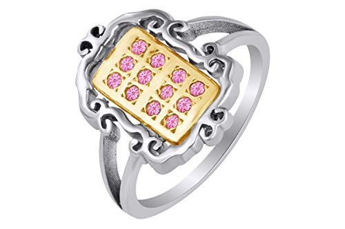 - AFFY 14k White Gold Over Sterling Silver Round Shape Simulated Tourmaline Fashion Two Tone Ring Size 8