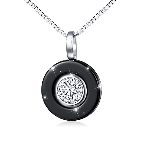 SILVER MOUNTAIN Fashion Steampunk Black Ceramic S925 Sterling Silver Comfort Pendant Necklace for Lady Women 18″