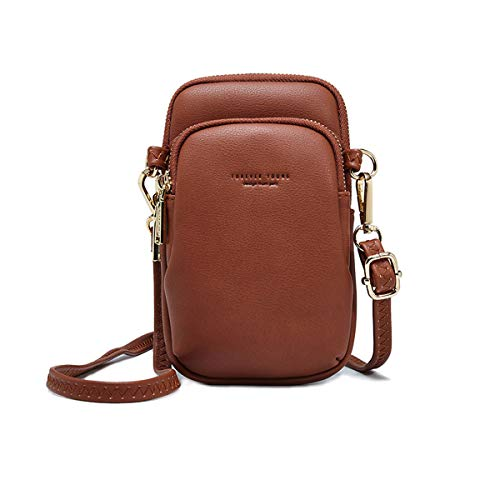 Crossbody Pouch For Women Cellphone Bags Soft Leather Pocket Retro Travel Bag With Adjustable Crossover Strap Brown