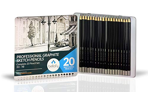 Bellofy 20 Sketching Pencils – Complete Professional Graphite Pencil Set for Sketch Drawing –9B to 9H Art Travel Set for Adults and Kids
