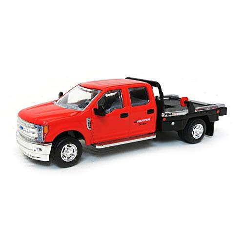 (1/64 2018 Ford F-350 Dually, Red, Deweze Parallel Squeeze Bale Bed)