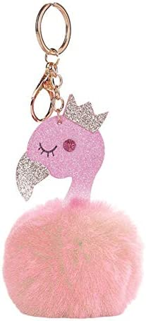 erDouckan Keychain Perfect Decro & Swan Crown Fluffy Ball Women Keychain Car Key Holder Ring Handbag Hanging Decor ,Best Gift for Friends or Family – The Super Cheap