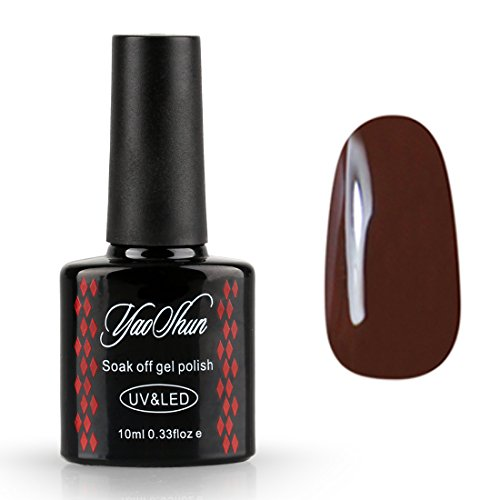 Yaoshun UV LED Gel Nail Polish Soak Off Lacquer Dark Brown C