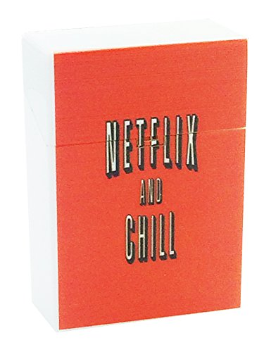 Perfection In Style White Plastic Cigarette Case Vintage Poster Netflix And Chill 3 8  X 2 25  Regular Size Push Open Top