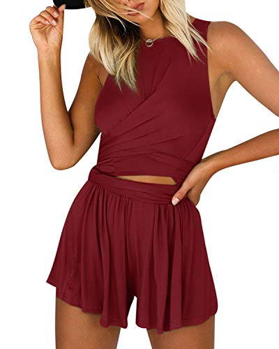 (YOINS Women Playsuit Rompers Convertible Plunge Sexy V Neck Sleeveless Backless Jumpsuits B3-Burgundy XL)