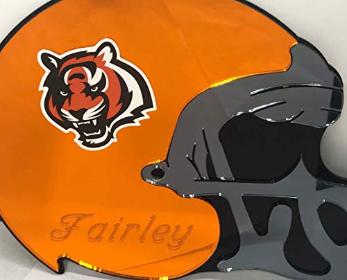 Cincinnati Bengals NFL Football Helmet Wall Decor Wall Hanging Personalized Free Engraved Mirror Sign NFL Sports Memorabilia - with Your Name On It!