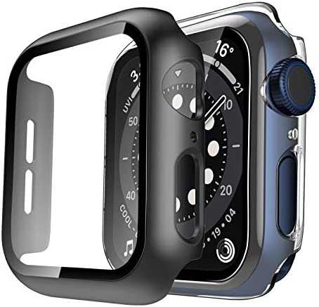 TAURI 2 Pack Hard Case Compatible for Apple Watch SE Series 6 5 4 44mm Built in 9H Glass Screen Protector Slim Bumper Touch Sensitive Full Protective Cover Compatible for iWatch 44mm – Clear+Black
