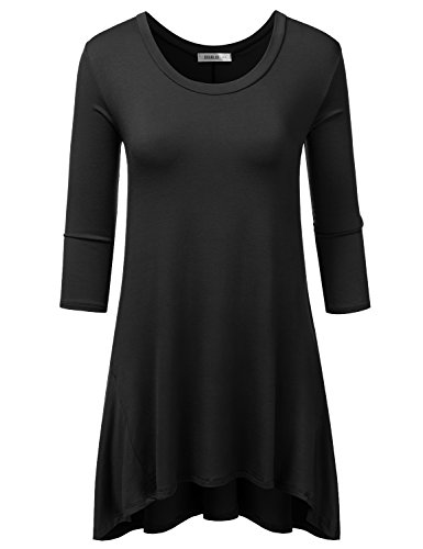 Doublju Loose Fit 3/4 Sleeve Oversized Flare Tunic Top For Women With Plus Size (Made In USA) Black - Be Usa Active