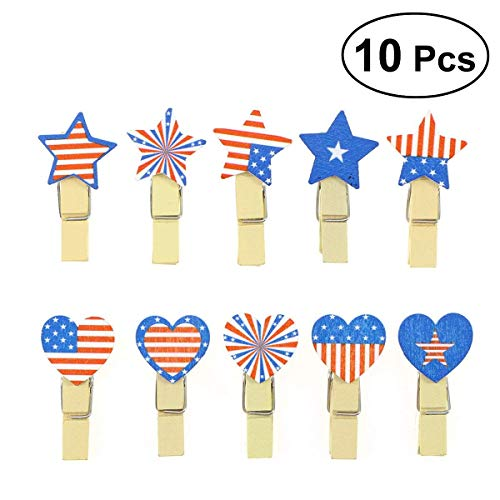 - Easyflower Suitable for Party Favors Patriotic Photo Clip Pins American Flag Note Memo Card Postcard Holder Arts and Crafts 4th of July Party Decoration 10PCS