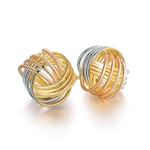 Barzel 18K Gold Plated Gold 4 Row Love Knot Stud Earrings (3-Tone ER1904)