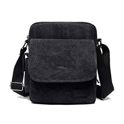 H Kaki 26 W 8 23in Pouch Bandoulière Taille Size Noir 3 Pour l Simple En couleur Hommes Toile Sports 10 Sac 14 One Business fHTqwvva