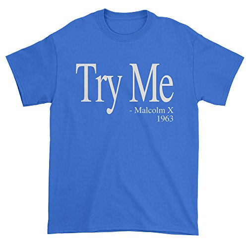 Mens Try Me Malcolm X T-Shirt Medium Royal (Blue Try Out T-shirt)