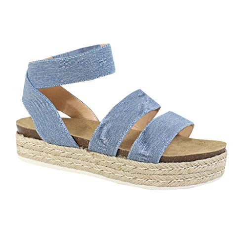 Nature Breeze FQ83 Women's Elastic Strappy Lug Sole Platform Sandals (7.5, ()