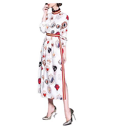 Isbxn Vestido de Temperamento Elegante Delgada de la Cintura de la impresión de la Ropa Mujeres (Color : White, Size : S) White