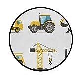 JOSENI Home Decor Light Round Area Rug, Cartoon Style Heavy Machinery Truck Crane Digger Mixer Tractor Construction ,Super Soft Circle Carpet (5'Diameter)