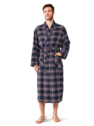 SIORO Robes for Men 100% Cotton Plaid Bath Robe Soft Flannel Bathrobe Sleepwear for Bath Shower Lounging,Purple L