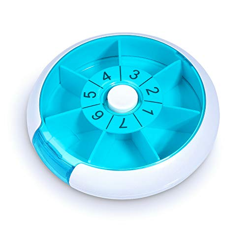 - Upgraded Pill Box Round for Travel, Opret Pill Case Organizer 7 Day Weekly Daily Once a Day with 7 Compartment (Blue)