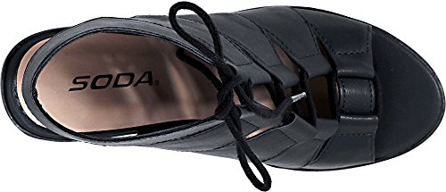 Soda Women's Quince Lace Up Chunky Heel Peep Toe Bootie (7.5 B(M) US, Black PU) by Soda (Image #4)
