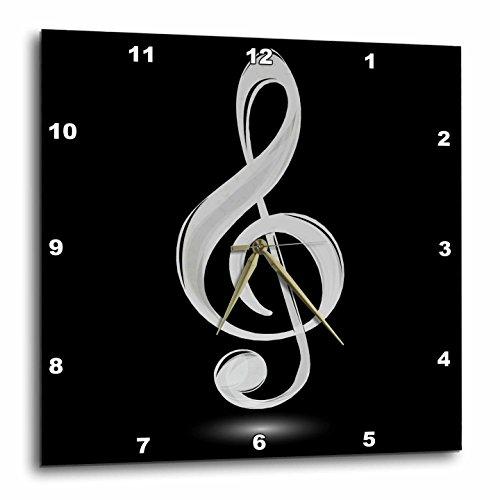 3dRose dpp_111576_2 Gray Treble Clef-Wall Clock, 13 by (Gray Clock Plate)