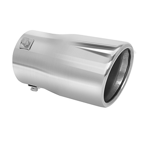 (Car Muffler Tip - Stainless Steel to give Chrome Effect - To Fit 2 to 2 3/4 inch Exhaust Pipe Diameter - Installation Clamps Included by TriTrust)