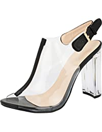Fenton 1 Womens Clear Chunky Heel Peep Toe Lucite Sandals