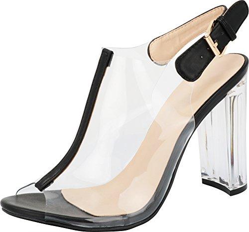 Fenton Glass Top - TOP Moda Fenton 1 Womens Clear Chunky Heel Peep Toe Lucite Sandals,5 B(M) US,Black
