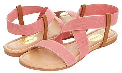 Floopi Womens Summer Flat Sandals Open Toe Elastic Ankle Strap Gladiator Sandal (10, Pink-501) - Pink Strap Sandals