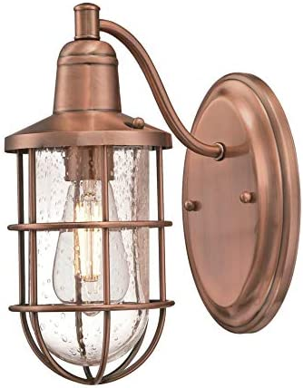Westinghouse Lighting 6580600 Crestview Vintage One Outdoor Wall Light Sconce, Copper