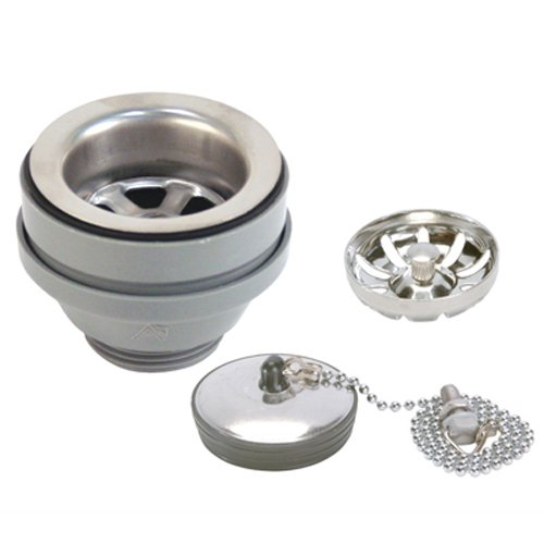 Ambassador Marine Straight Sink Drain with Brushed Finish, 1 1/4-Inch Thread and Strainer Basket