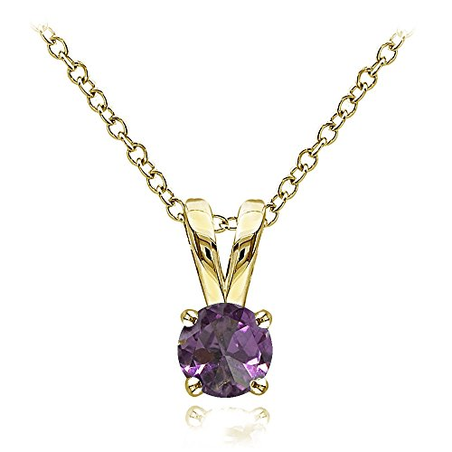 Ice Gems Yellow Gold Flashed Sterling Silver Simulated Alexandrite 5mm Round Solitaire Necklace