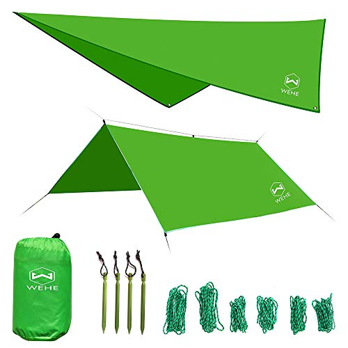 WEHE Hammock Rain Fly Tent Tarp. Waterproof Camping Shelter. Stakes Included. Lightweight. Fast Easy Setup. 210T Ripstop Polyester Taffeta (10' (L) x 10' (W)) (Green)
