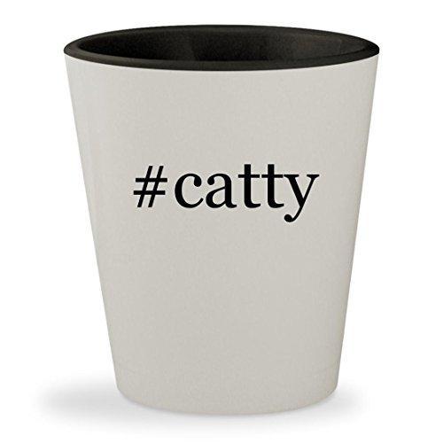 Catty Noir Makeup (#catty - Hashtag White Outer & Black Inner Ceramic 1.5oz Shot Glass)