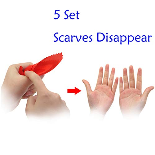 WSNMING Magic Finger Thumb Tip 5PCS Soft Plastic Thumb Tip Fingers Magic Tricks Toy Tool + 5PCS Red Silk for Stage Bar Party Home Shows Street (5 Set )