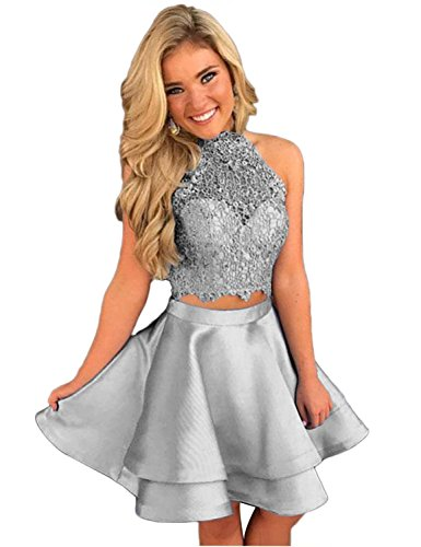 Prom Homecoming Dresses Silver Satin Lace Women's DMDRS Ball Two Short Pieces fvWw7Wp8Yq