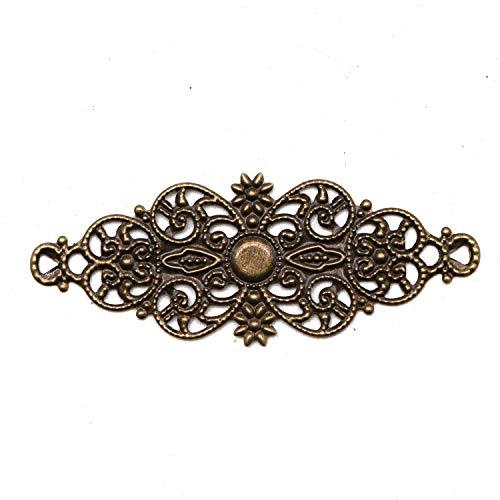 JETEHO 80pcs Bronze Filigree Flower Wrap Connector Filigree Jewelry Findings ()
