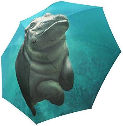 Custom Cute Hippopotamus Compact Travel Windproof Rainproof Foldable Umbrella