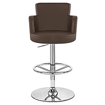 Zuri Furniture Brown Chateau Adjustable Height Swivel Bar Stool with Chrome Base