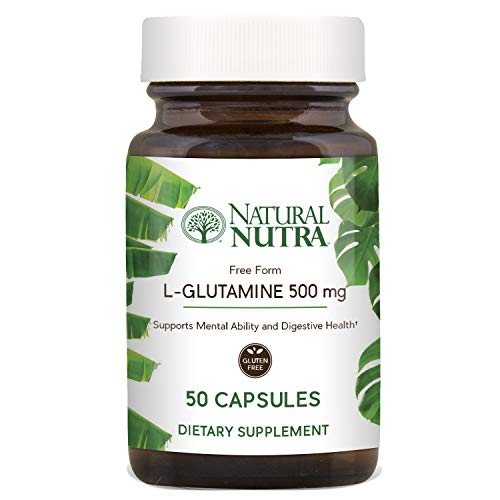 Natural Nutra L Glutamine 500 mg Capsules, BCAAs Amino Acids Supplement, Essential Muscle Builder, Recovery and Repair, Supports Memory, Focus, Brain and Gastrointestinal Health, 50 Caps