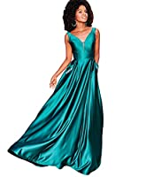 Zhongde Women's V Neck Open Back Beaded Satin Prom Dress Long Formal Evening Gown with Pockets
